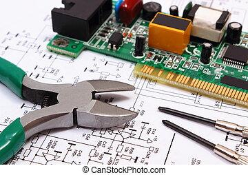 Werkzeuge, präzision, diagramm, elektronik, gedruckten ...