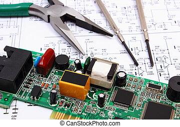 Werkzeuge, präzision, diagramm, elektronik, gedruckten... Stockbild ...