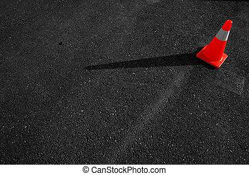 leitkegel, auf, asphalt