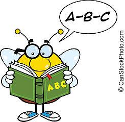 leitura, abc, livro, rechonchudo, abelha