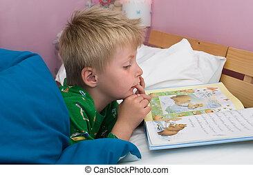 leitura, bed., criança