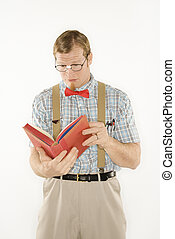 leitura, book., homem