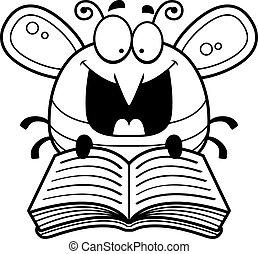 leitura, caricatura, abelha