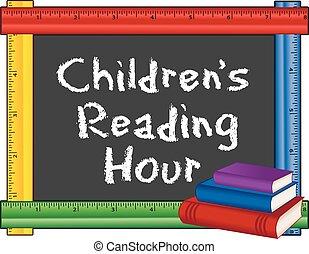 leitura, childrens, régua, quadro, hora