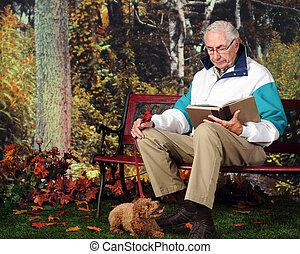 leitura, com, filhote cachorro