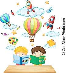 leitura, crianças, livros, dois, inglês
