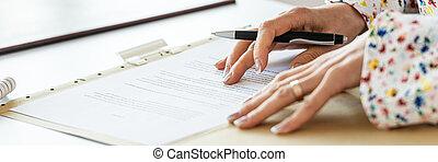 leitura, documento, sinal, executiva