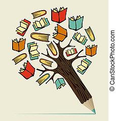 leitura, educação, conceito, lápis, árvore