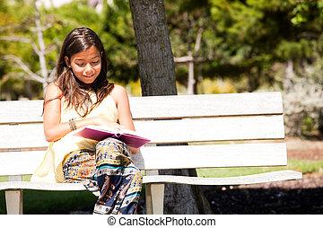 leitura, em, a, parque
