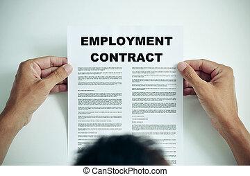 leitura, emprego, contrato, homem