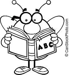 leitura, esboçado, abc, livro, abelha