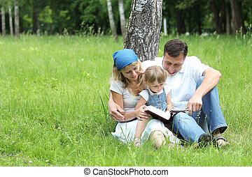 leitura, família jovem, bíblia