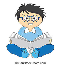 leitura, feliz, criança