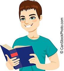 leitura, homem, desfrutando