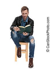 leitura homem, livro, sentada