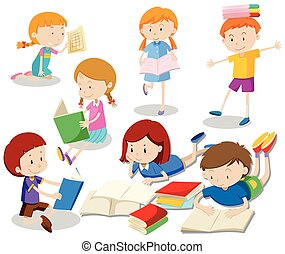 leitura, jogo, livro, crianças