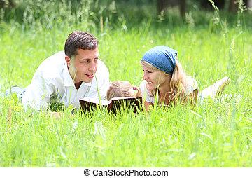 leitura, jovem, família, bíblia