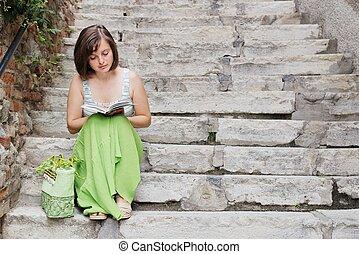 leitura, ligado, escadas