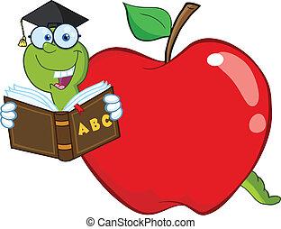 leitura, livro escolar, maçã, verme