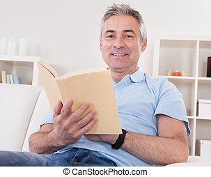 leitura, livro, maduras, homem