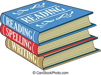 leitura, livros, soletrando, escrita