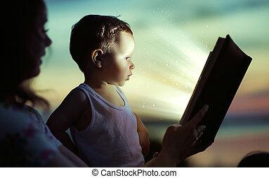 leitura, mãe, dela, filho