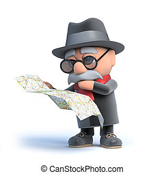 leitura mapa, homem velho, 3d