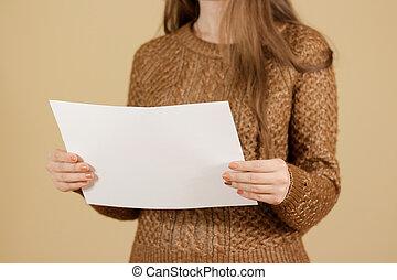 leitura menina, em branco, branca, voador, folheto,...