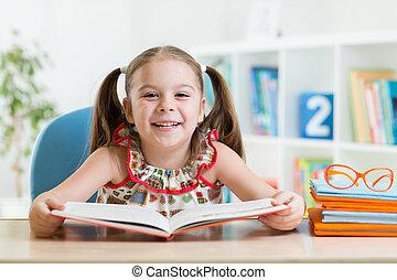 leitura menina, livro, criança