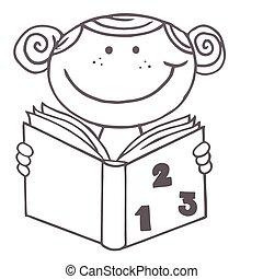 leitura menina, livro, matemática