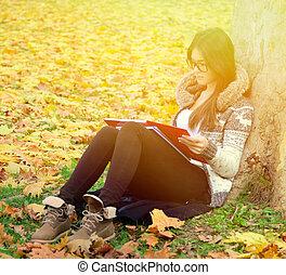 leitura menina, natureza