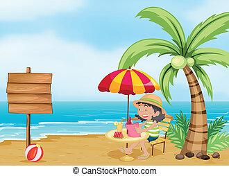 leitura menina, praia