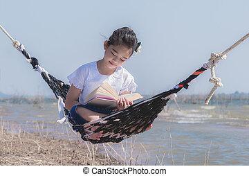 leitura menina, um, livro