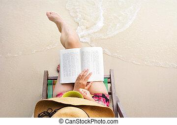 leitura menina, um, livro, praia