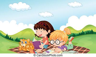 leitura, meninas, animal