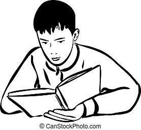 leitura menino, livro, esboço