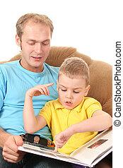 leitura menino, pai, livro