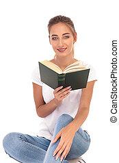 leitura, mulher feliz, jovem, romance