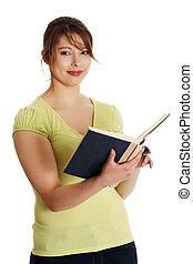 leitura, mulher, livro, adolescente