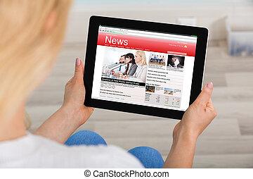 leitura mulher, notícia, ligado, tablete digital