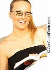 leitura mulheres, um, livro