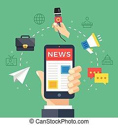 leitura, notícia, ligado, móvel, telefone., passe segurar,...
