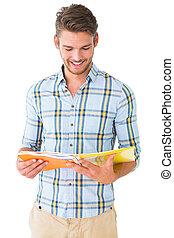 leitura, notepad, estudante, bonito