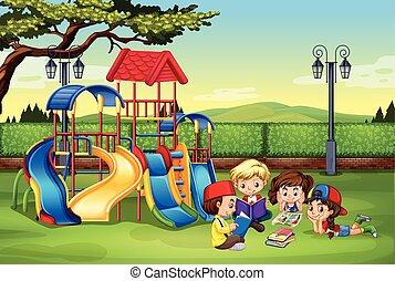 leitura, parque, crianças