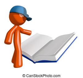 leitura, trabalhador, livro, laranja, correio,  postal, abertos, homem