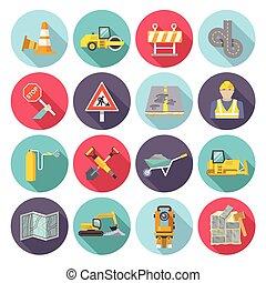 lejlighed, arbejder, vej, iconerne