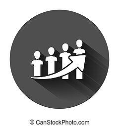 lejlighed, baggrund, folk branche, karriere, concept., illustration, omkring, vektor, sort, længe, pil, optræden, style., shadow., ikon
