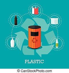 lejlighed, begreb, affald, plakat, genbrug, illustration, plastik, vektor, icons., genbrug, affald, style.