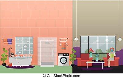lejlighed, begreb, behandlinger, illustration, vektor, hjem, kurbad