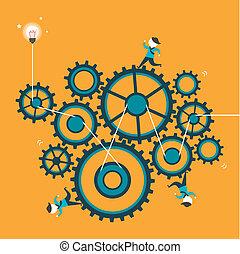 lejlighed, begreb, konstruktion, samarbejde, illustration